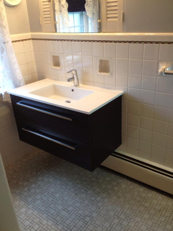 Wall Hung Vanity Project John Schoeffling Plumbing - Baseboard around bathroom vanity
